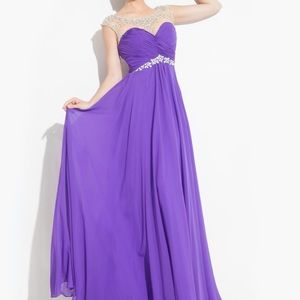 Rachel Allan Purple Beaded Chiffon Dress